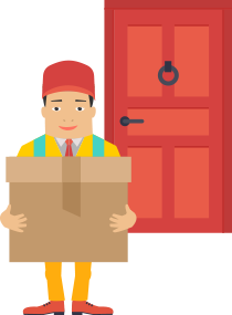 A courier collecting a package from your door
