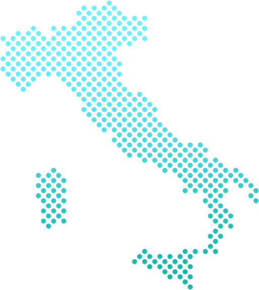 Map of Italy with main shipping destinations marked